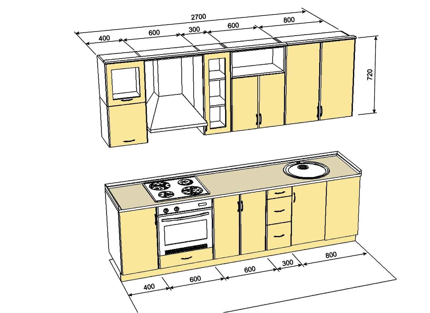 Проект кухонного гарнитура с размерами своими руками