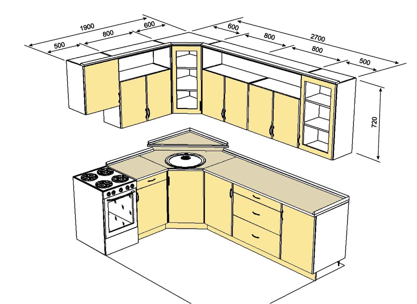 Как сделать кухонных шкафов схемы