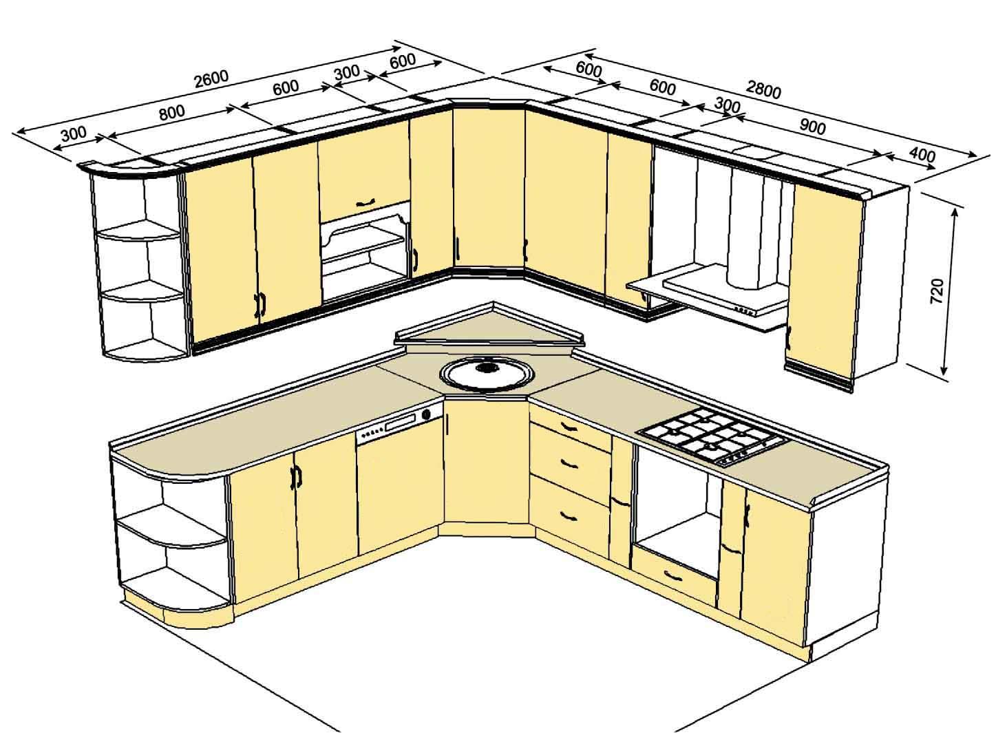 Проектирование кухни чертежи
